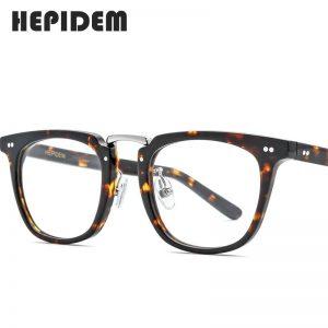 HEPIDEM Acetate Optical Eye Glasses Frames for Men Retro Vintage Square Eyeglass Nerd Women Prescription Spectacle Eyewear 9126