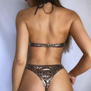 Sexy Hollow Out Bikini Swimwear Women Push Up 2020 Snake Print Brazilian Swimsuit Female Two Pieces Summer Bandage Bather Suit