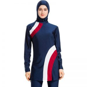 2021 Long Sleeve Muslim Swimwear Sunscreen Burkini Suit Patchwork Islamic Swimsuit for Women Fashion Hijab Swim Wear Hasema