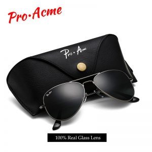 Pro Acme Brand Classic Pilot Sunglasses for Men Women Metal Frame 100% Real Glass Lens 55mm PA0325