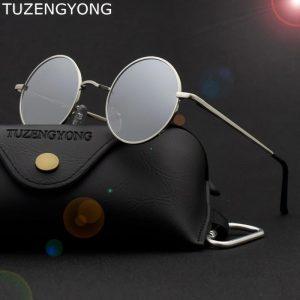 TUZENGYONG Brand Classic Round Sunglasses Men Women Polarized Metal Small Frame Retro Steampunk Sun Glasses UV400 Shade