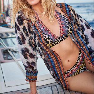 2021 Beach Kaftan Print Leopard Swimsuit Cover up Chiffon Robe Sarong Beach Pareo Bikini cover up Tunic for Beach Vestidos Mujer