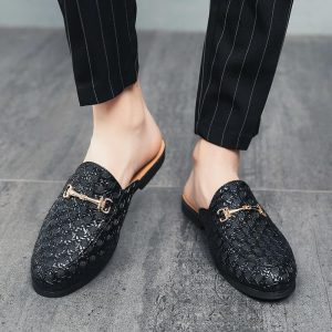 Black Half Shoes Men Leather Shoes Men Mules Casual Shoes Slippers Fashion Sapato Social Masculino Mocassin Homme Chaussure 2020