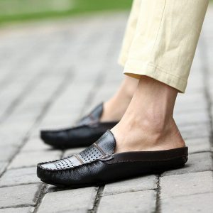 Men's Shoes Casual Leather Lofer Shoes Man Lightweight Half Shoes For Men Classic Mens Slip on Shoes Breathable Flat Loafers Men