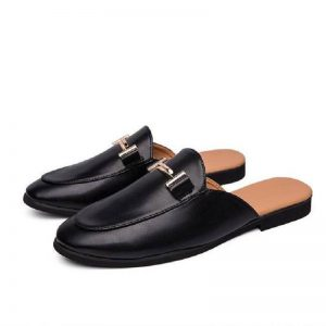 Mules Men Leather Shoes Summer Casual Slippers Sandals Male Shoes Slip On Men Loafers Fashion Men Flats Moccasins White Black