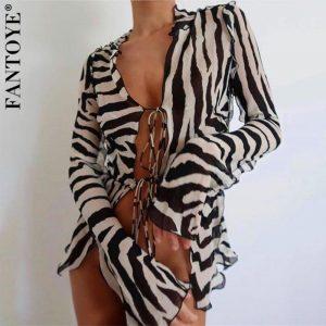 FANTOYE Chiffon Zebra Printed See Though Cardigan Blouses Women Autumn Sexy Bandage Long Sleeve Shirts Casual Fashion Tops 2020
