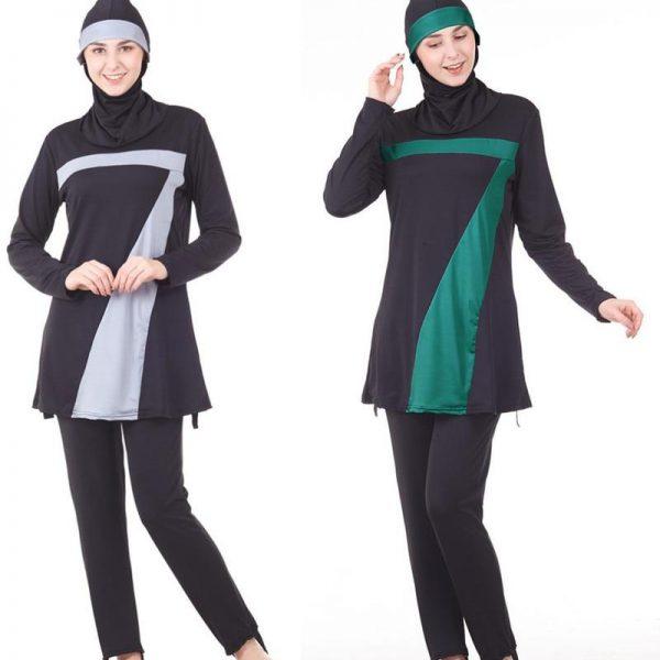 Arabic Islamic Swimwear Women Full Cover Up Muslim 3 Piece Suit Hijab Swimsuit Modest Swim Surf Wear Sport Burkinis Beachwear