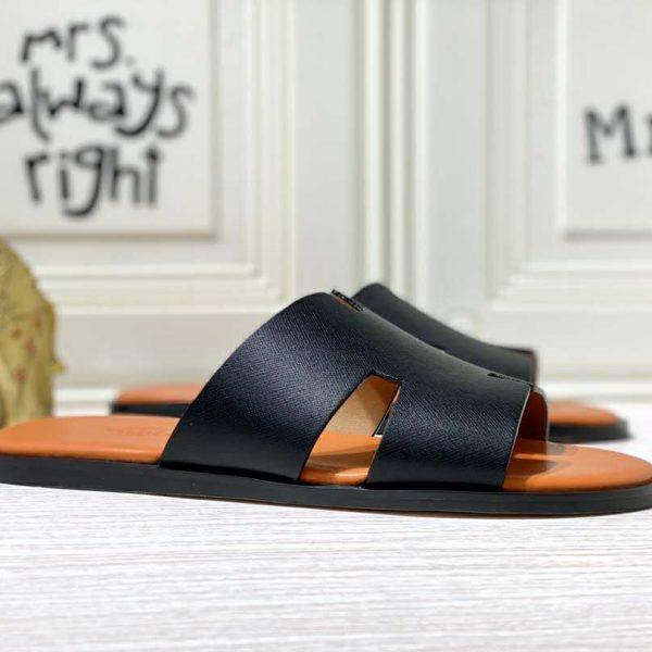 Walkinbeauty Classic Mens Flip Flop Sandals Genuine Leather Indoor Slippers