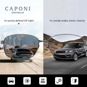 CAPONI Aluminum Frame Sun Glasses For Men Polarized Photochromic High Quality Square Sunglasses Eyewear For Driving UV400 BS7755