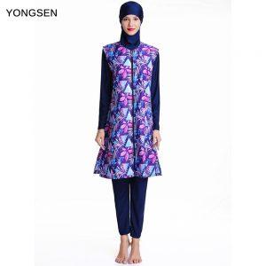 YONGSEN Full Cover Costume swimwear Fashion Swimsuit High Quality Middle East Islamic Muslim long sleeve Print Burkinis Hijab