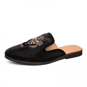 Men Half Slipper Shoes For Men Rhinestone Luxury Loafers Fashion Zapatillas Hombre Casual Shoes Sapato Social Masculino Mules