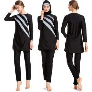 Muslim Swimwear Women Long Sleeve Full Cover Fashion Burkini Hijab Islamic Swimsuit Swimming Clothes Suit Set 3 Piece Plus Size