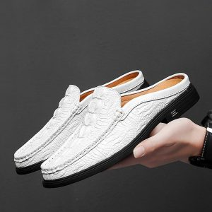 2020 Summer Half Drag Peas Leather Mens Driving Shoes Men's Slipper Penny Loafers Men Moccasins Man Mules Tenis Masculino White