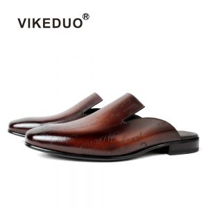 Vikeduo New 2020 Leather Laser Slippers Men's Shoes Manual Casual Slipper Toes Men's Shoes Fashion Zapatos