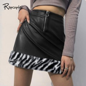 Rapcopter Leather Black Skirts Feathers Patched Skirts Zebra Printed Mini Skirts Y2K Korean Style Short Skikrts Women Streetwear