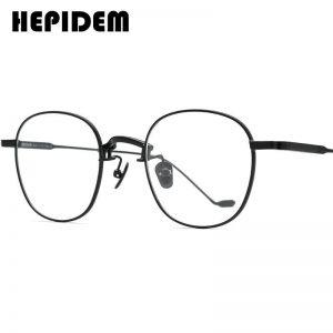 HEPIDEM Alloy Glasses Frame Women 2020 New Korean Brand Design Men Eyewear Round Metal Spectacles Clear Eyeglasses Frames 5022