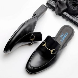 Genuine Cow Leather Slippers Outdoor Non-slip Men Fashion Casual Waxing Process D Buckle Decoration Sandalias For Men F80