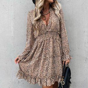 Sexy Deep V Neck Leopard Print Women Dress 2020 Autumn Winter Long Sleeve Ruffles A-Line Dresses Elastic Waist Party Vestidos