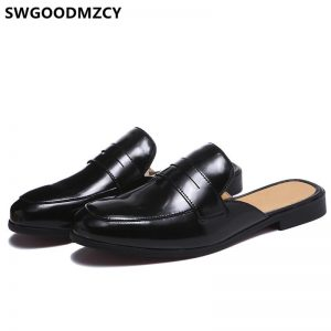 Half Shoes For Men Leather Shoes Men Designer Mule Masculino Coiffeur Italian Men Half Shoes Zapatos De Hombre Casuales Cuero