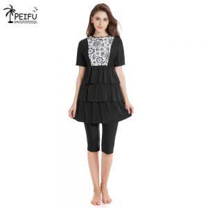 PEIFU New Islamic Swimwear For Women Plus Size Modest Hijab Musulman Swimsuit Push Up Short Sleeve Burkinis Muslim Swimwear