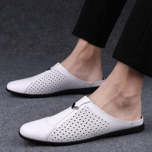 2020 Mules Men Half Loafers Genuine Leather Slippers Summer Hollow Out Loafer Slides Breathable Lightweight Moccasins Half Shoes