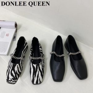 Brand Design 2020 Autumn Luxury Chain Square Toe Shallow Flats Shoes Women Slip-on Loafers Casual Moccasins Zebra Pattern Ballet