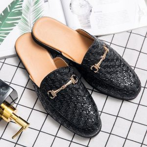 Brand Designer Mens Casual Weave Leather Business Italian Plus Size 45 Men Half Shoes Drop Ship Mules Man White Slides Slipper
