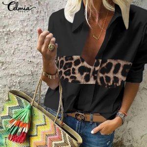 5XL Celmia Sexy Leopard Print Blouse Women 2021 Autumn V-Neck Long Sleeve Shirt Casual Loose Tops Vintage Blusas Female Clothing