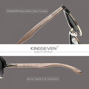 KINGSEVEN Handmade 2021 Black Walnut Wooden Sunglasses Men Polarized UV400 Protection Semi-Rimless Retro Eyewear Women Oculos
