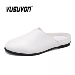 2021 Loafers For Men Casual Mules Spring Summer Black White Outdoor Home Keep Toe Slides PU Leather Non-Slip Lazy Slippers Shoes
