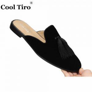 Cool Tiro Black Velvet Mules Tassel Men Slippers Smoking Slip-On Flats Velour Handmade Shoes Casual Genuine Leather fashion