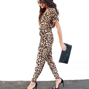 Paris Girl Sexy Ladies Fashion Leopard Jumpsuit Spring New Temperament Commute Fit Comfort Jumpsuit