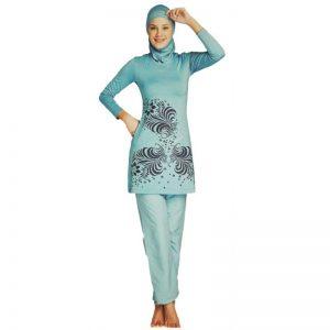 2021 Muslim Modest Swimwear Islamic Swimsuit For Women Full Coverage Hijab Swimwear Swimming Beachwear girl Burkinis three piece