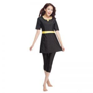 YONGSEN Modest Swimming Suit Women Muslim Swimwear Plus Size Modest Short Sleeves Islamic Swimsuit   Beach Wear Burkinis