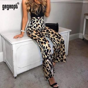 Gagaopt 2019 Leopard Pants Women Sexy High Waist Wide Leg Pants Loose Casual Pants Ladies Long Flare Pants Streetwear