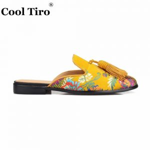 Cool Tiro Gold Jacquard Mules Men Slippers Slip-On Flats Silk Tassels Men's Handmade Casual Shoes Genuine Leather Indoor outdoor