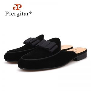 Piergitar new Fashion party and prom half designs men 's loafers Handmade Butterfly-knot men velvet slippers leather insole