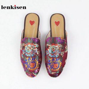 Lenkisen 2020 genuine leather slip on outside slippers oriental embroider mules metal decoration streetwear fashion women shoes