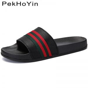 Brand Men Slippers Shoes Leather Summer Soft Footwear Fashion Male Water Shoes Slides Outdoor Rubber Flat Men Sandals Beach Shoe