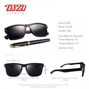 20/20 Classic Polarized Sunglasses Men Glasses Driving Coating Black Frame Fishing Driving Eyewear Male Sun Glasses PL278
