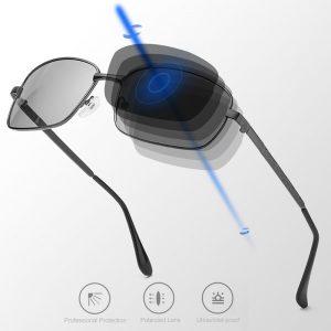 VIVIBEE Driving Selection Rectangle Photochromic Polarized Men Sunglasses Women Car Driving Safe Polarizing Male Sun Glasses