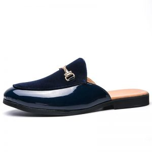 FIXSYS Arrive Buckle Casual Shoes Outdoor Men Anti-slip Half Shoes Suede Leather Slipper Breathable Slip-on Mules Fashion Slides