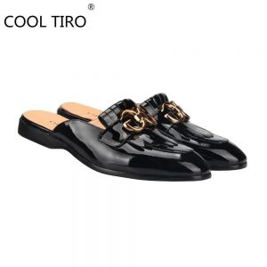 COOL TIRO Double G Black Patent leather Loafers Men's Mules Slippers Backless Slip-On Flats sandals Handmade Party Casual Shoes