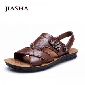 Plus Size Men Sandals Summer  Leather Classic Men Shoes Slippers Soft Summer Sandals Men Comfortable Walking Footwears