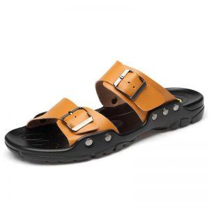 Plus Big Size Men Leather Slippers Slides Summer Outdoor Beach Flat Slide Slipper Male White Black Yellow 49s 50s 51s 52s