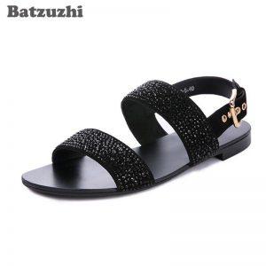 2020 Fashion Men's Sandal Shoes Summer Leather Shoes Men Black/Golden Rhinestones Gladiator Beach/Party Sandals Men, US6-US12