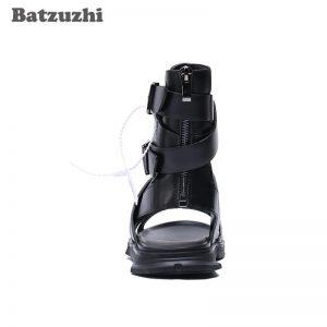 Batzuzhi Handmade Men's Shoes Comfortable Black Leather Summer Sandal Shoes Ankle Beach Sandal Shoes Men zapatos mujer, EU38-46