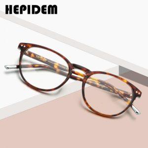 HEPIDEM Acetate Optical Glasses Frame Men Retro Vintage Round Eyeglasses Nerd Women Prescription Spectacles Myopia Eyewear 9139