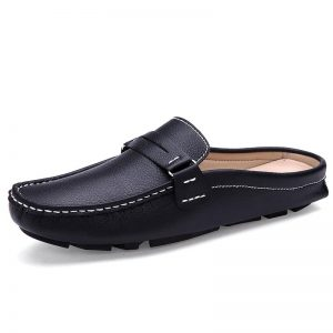 2020 Brand Men Shoes Summer Casual Flat Shoes Man Soft Leather Shoes Slip-on Half Slippers Men Comfortable Driving Loafers