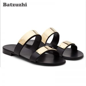 2020 Fashion Men's Shoes Summer Black Genuine Leather Sandal Shoes Men Summer Sandalias Mujer Gladiator, Big Sizes EU38-46!